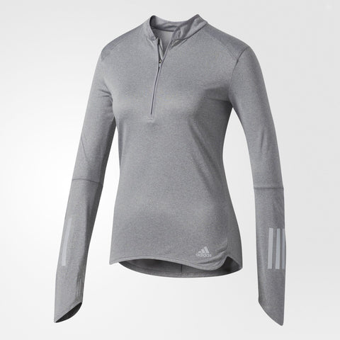 Long sleeved grey running top with half zip at the front and reflective detail
