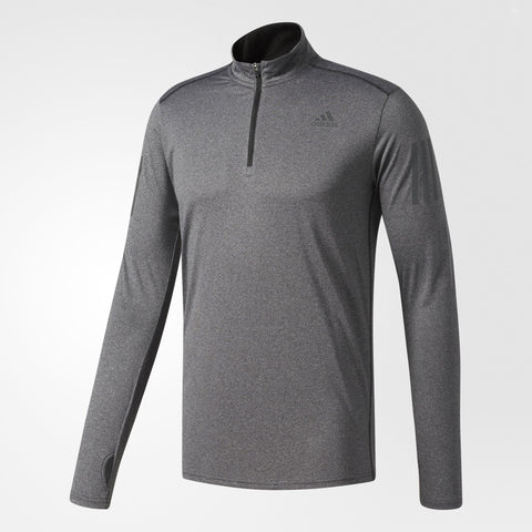Adidas Response Men's Long Sleeve Zip Tee, Grey