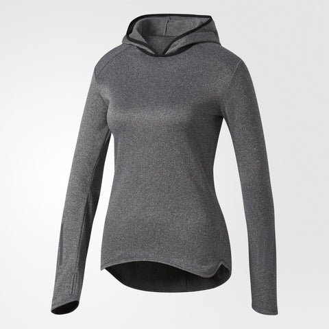 Grey women's long sleeve running top with hood from Adidas