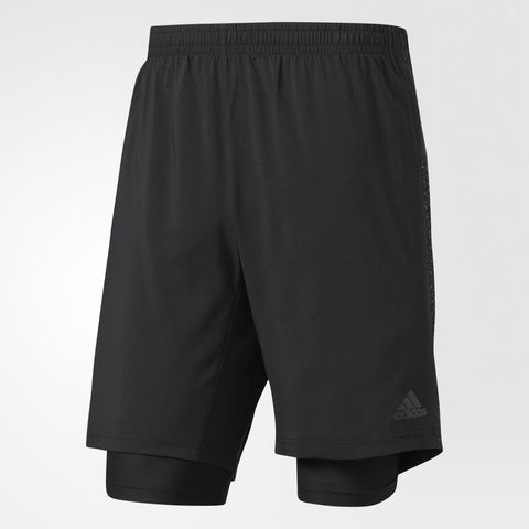Black dual running shorts with snug short tights and loose cut lightweight shorts