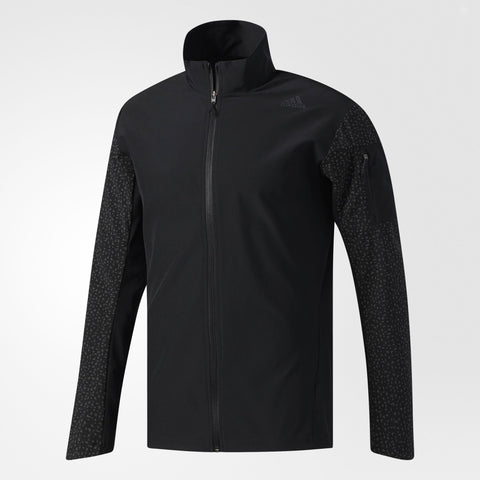 Water repellent black Adidas Running jacket with dull zip front and stand up collar