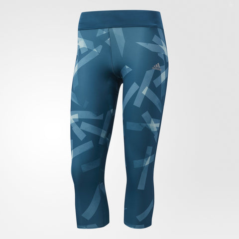 Blue patterned 3/4 running tights from Adidas