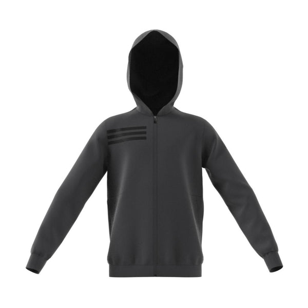 Adidas boy's full-zip track jacket has a mesh-lined hood in black / carbon