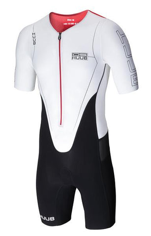 Front view of the White and Red Huub Ds Long Course Tri Suit Sleeved - Helix Sport