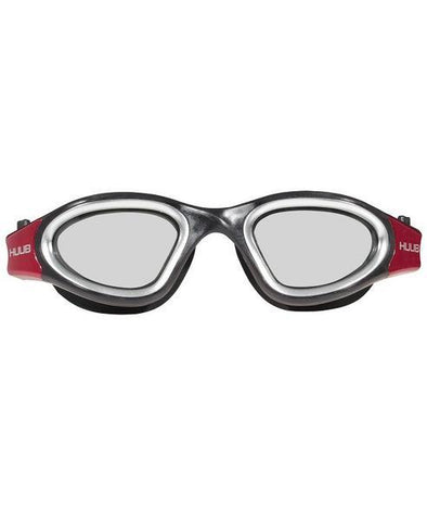 Front view of the Black and Red Huub Aphotic Swim Goggle - Helix Sport