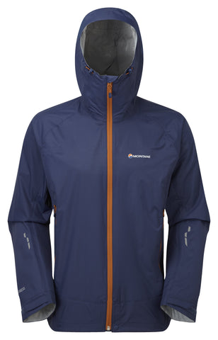 Blue hood up Montane Men's Shell Atomic Jacket - Helix Sport