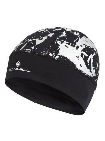 Ronhill black running beanie with highly reflective detail