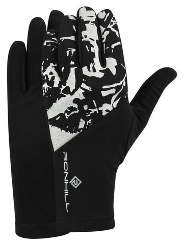 Ronhill black with reflective detail thermal running gloves