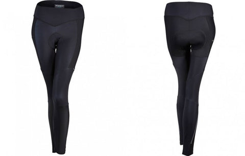 Black winter  cycling tights with a premium female specific pad from CyTech