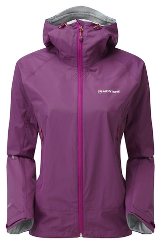 Hood down Purple Montane Women's Atomic Shell Jacket - Helix Sport