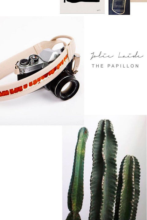 Leather camera strap LE PAPILLON