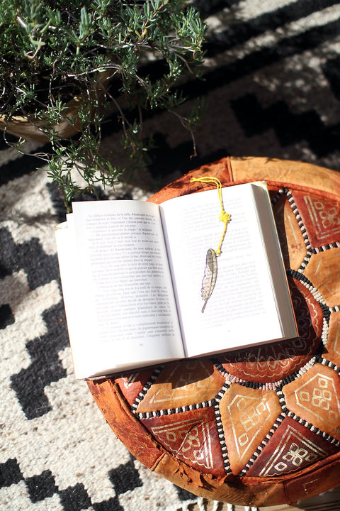 Golden feather bookmarks