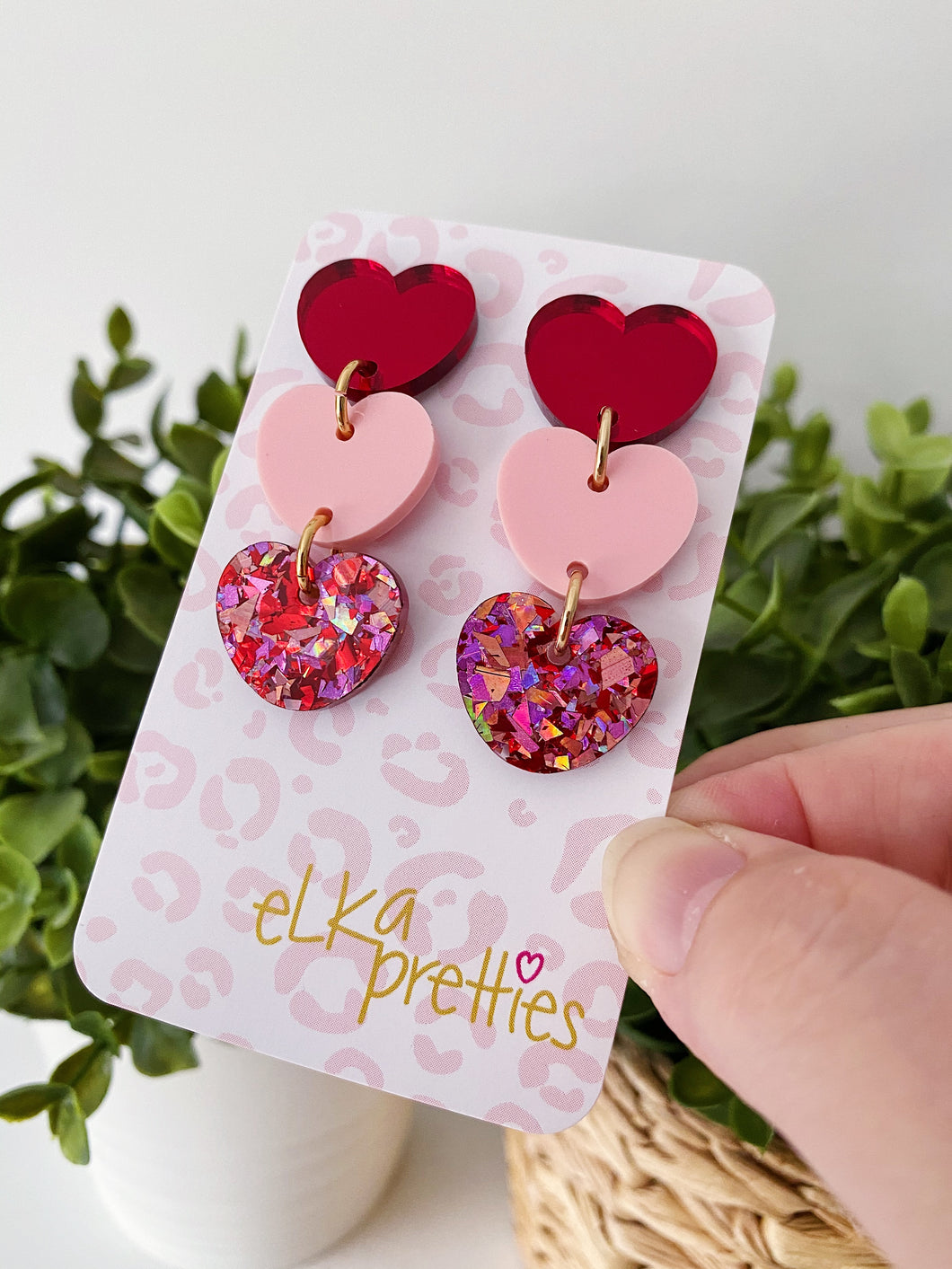 Triple Heart Drops - Red Mirror / Blush / Chunky Love