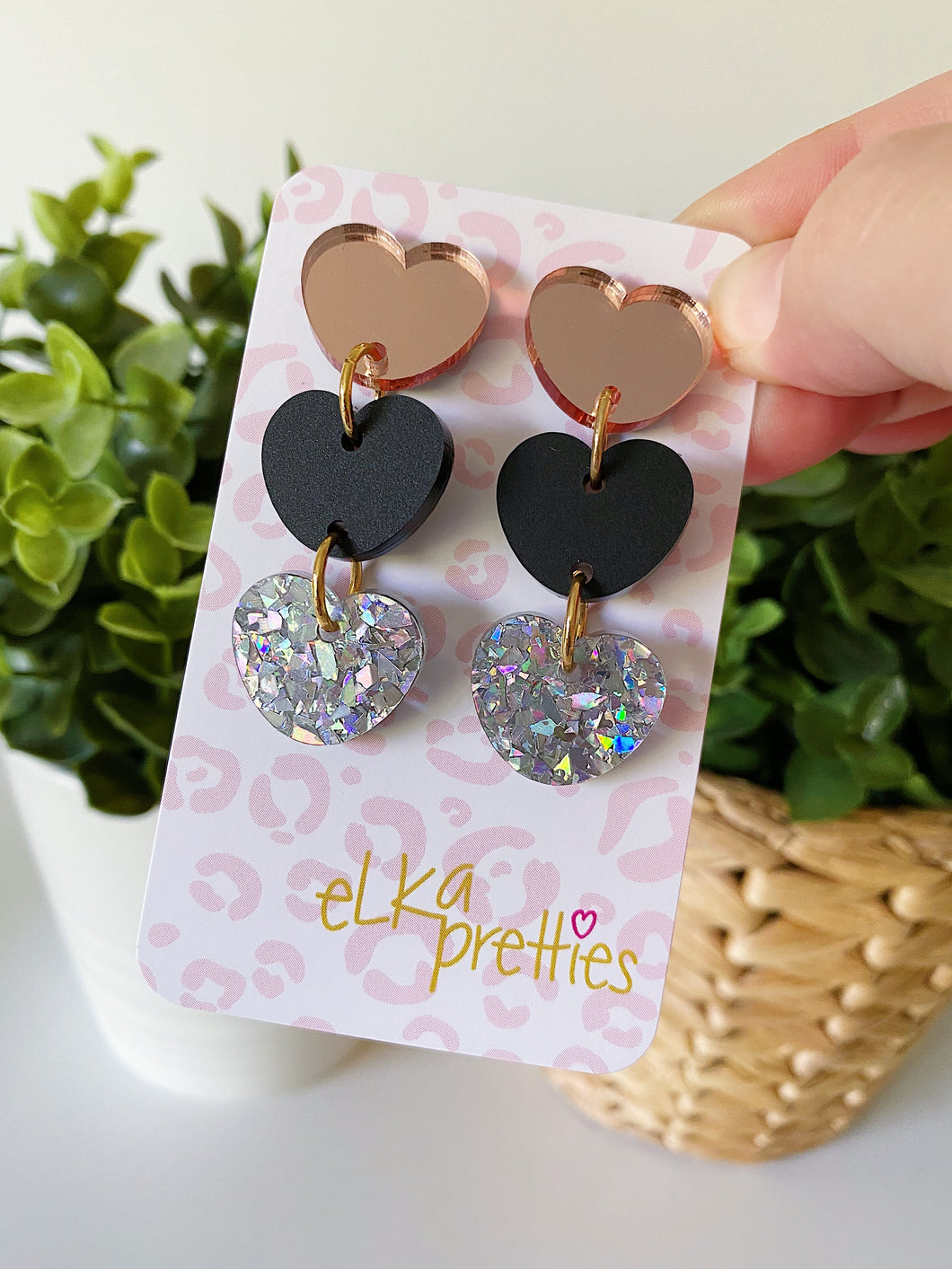 Triple Heart Drops - Rose Gold/Black/Shattered Silver