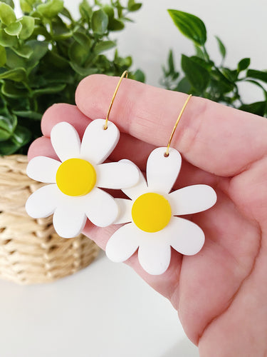 Daisy Hoops - White + Yellow