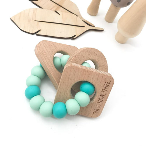ONE.CHEW.THREE Shapes Silicone and Beech Wood Teether