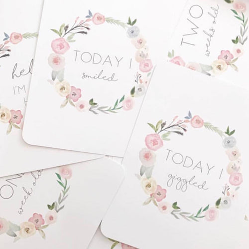 Toucan Floral Wreath Baby Milestone Cards