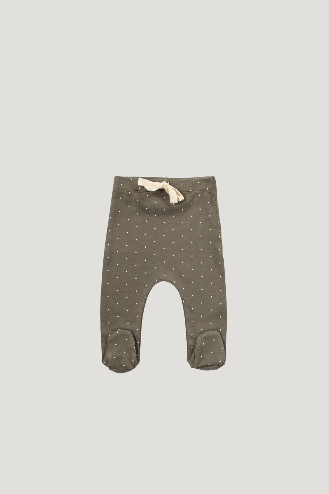 Jamie Kay Organic Cotton Footed Pants- Olive Dots
