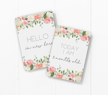 Toucan Vintage Floral Baby Milestone Cards