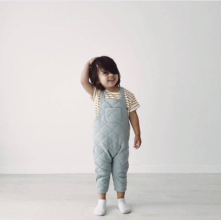 Frankie Jones The Label Quentin Quilted Overall- Duck Egg Blue