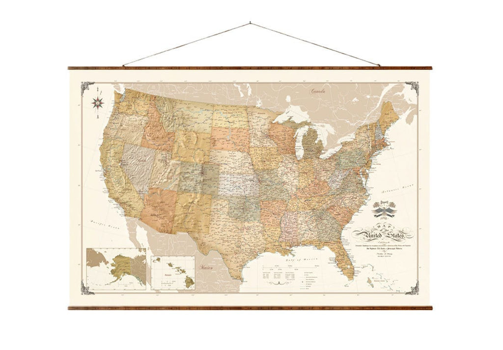pull up a map of the united states United States Map Modern Up to Date Pull Down Scroll Map on Canvas