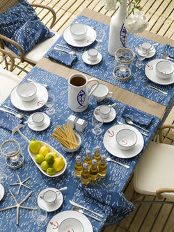 Table Runner -  Blue with Fish detail