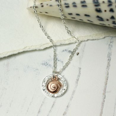 Rose Gold Shell In Silver Plated Hoop Necklace