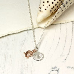 Rose Gold Turtle And Silver Plated Shell Necklace