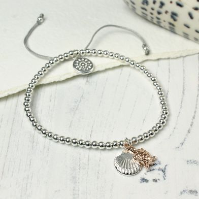 Rose Gold Turtle And Silver Plated Shell Bracelet