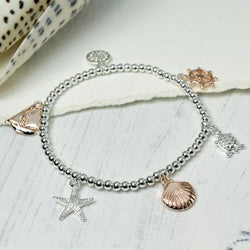 Silver Plated And Rose Gold Nautical Charm Bracelet