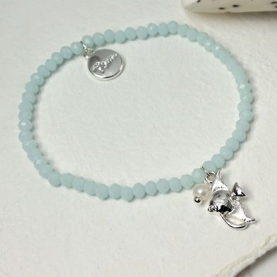Aqua Bead Bracelet With Silver Plated Angel Fish