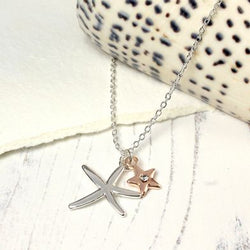 Silver Plated Starfish Rose Gold Crystal Star Necklace