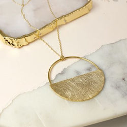Scratched Gold Plated Half Disc Necklace