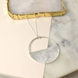 Scratched Silver Plated Half Disc Necklace