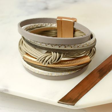 Taupe Leather Golden Tube Knot Bracelet
