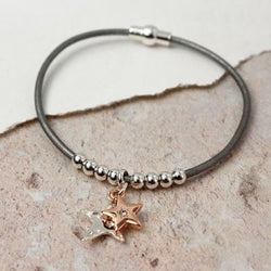 Grey Leather Silver And Rose Gold Stars Bracelet