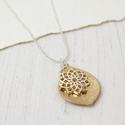 Worn Gold Leaf Silver Plated Mandala Necklace