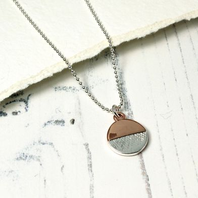 Silver And Rose Gold Plated Circle Necklace