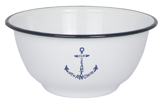Enamel Serving Bowl  'Your Heart my Anchor'