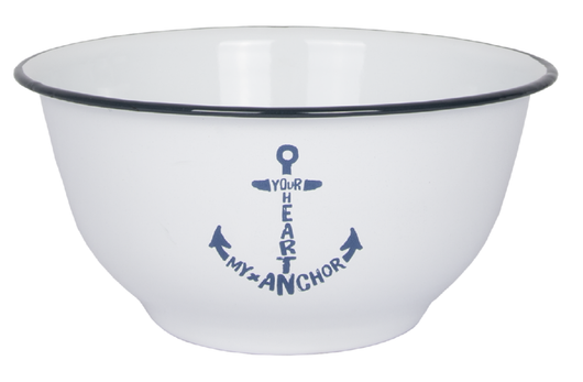 Enamel Bowl  'Your Heart my Anchor'