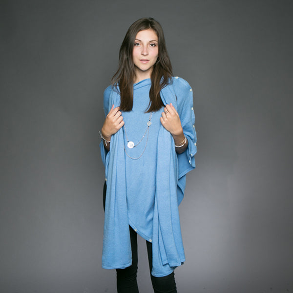Kellie Cashmere Scarf / Wrap - Denim Blue