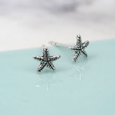 Sterling silver tiny textured starfish stud earrings