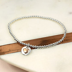 Sterling Silver Bracelet with Rose Gold Heart