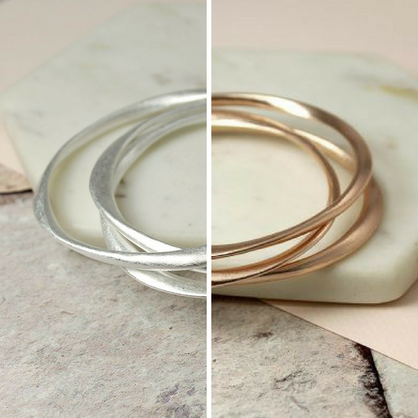 Worn Silver / Rose Gold Irregular Bangle Set