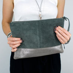 Suede Clutch Bag with Metallic Base