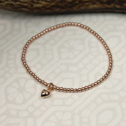 Rose Gold Plated Sterling Silver Heart Charm Bracelet