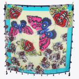 Tasselled Silk Square - Butterflies