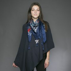 Tasselled Silk Square - Navy