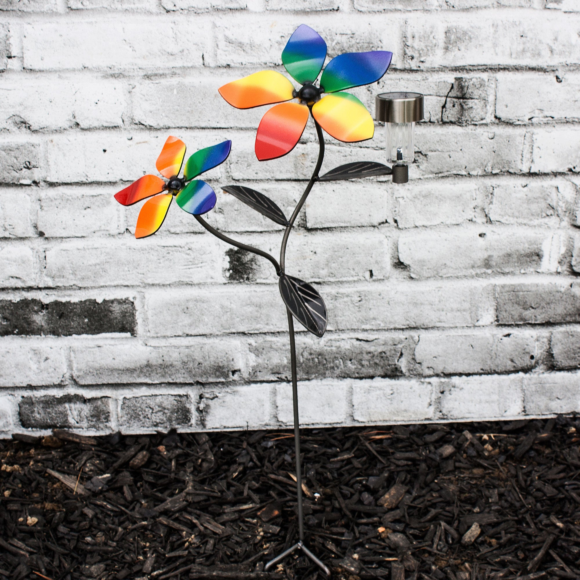 LGBTQ+  Décor Metal Garden Art , Flower Vine Stake  with Pride Flag Color