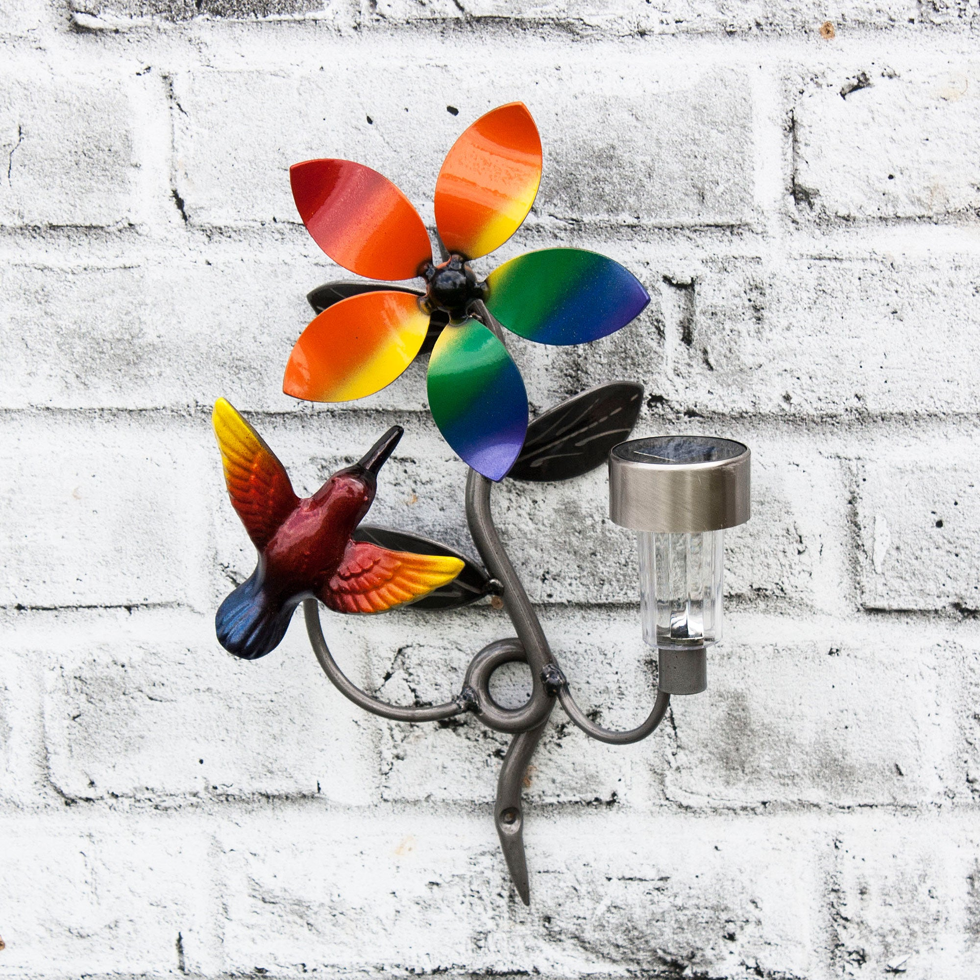 LGBTQ+  Home Decor Colourful/Colorful Metal Hummingbird with Solar Light For Walls with Pride Flag Color